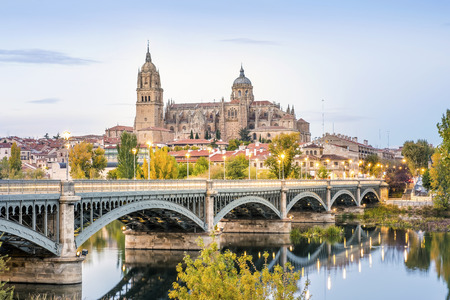 Photo for Cathedral of Salamanca and bridge over Tormes river, Castilla and Leon, Spain - Royalty Free Image