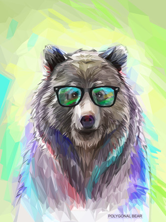 Photo for Cool low poly hipster animal, bear portrait. Background with wild animal. Low poly spectacled bear with fluffy fur. Vector illustration eps 10 - Royalty Free Image