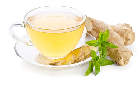 Photo for Tea with Ginger Root isolated on white background - Royalty Free Image