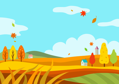 Illustration for autumn landscape - Royalty Free Image