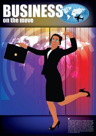 illustration of happy businesswoman