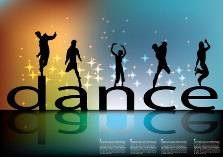 Illustration for dance sign with dancing silhouettes  - Royalty Free Image