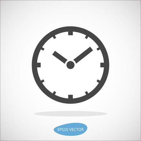 Clock icon, vector illustration. Simplified flat design.