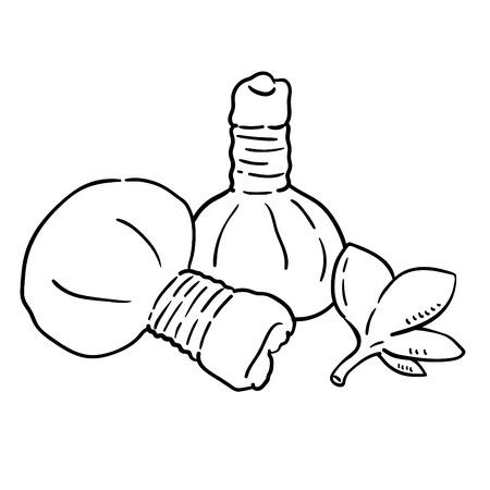 Ilustración de Hand drawn illustration of Herbal Compress Ball. - Imagen libre de derechos