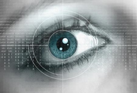 Photo pour Eye close-up with technology background - image libre de droit