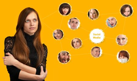 young woman with social network collage