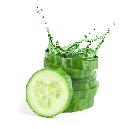 Photo pour fresh cucumber slices with water splash. Isolated on white background - image libre de droit