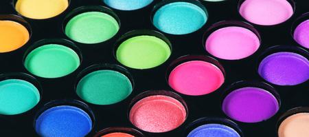 Photo pour Colorful eye shadows palette. Makeup background. Close up - image libre de droit