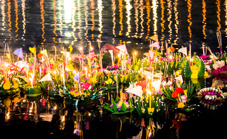 Photo for Many Krathong, It's beatiful in full moon day, In Thai called this culture is Loy Krathong - Royalty Free Image