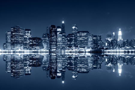 Photo for Manhattan at night, New York City. View from Brooklyn - Royalty Free Image