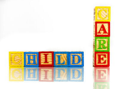 Foto de child care words reflection on white background - Imagen libre de derechos