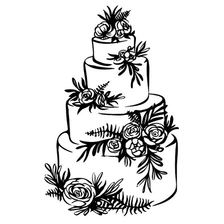 Illustration for Hand drawn sketch of wedding cake with floral decoration isolated on a white. trending wedding cake - Royalty Free Image