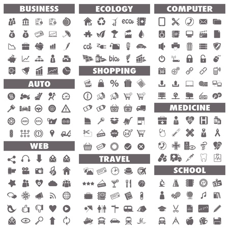 Illustration pour Basic icons set  Business, Auto, Web, Ecology, Shopping, Travel, Computer, Medicine and School - image libre de droit