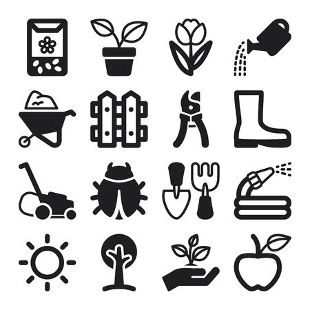 Illustration for Set of black flat icons about gardening - Royalty Free Image