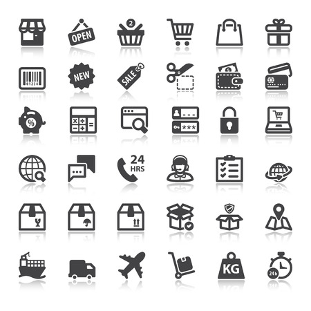 Illustration for Set of flat icons  with reflection about shopping online - Royalty Free Image