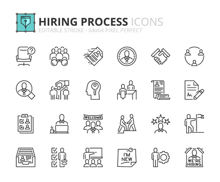 Illustrazione per Outline icons about hiring process. Human resources concept. Editable stroke. 64x64 pixel perfect. - Immagini Royalty Free
