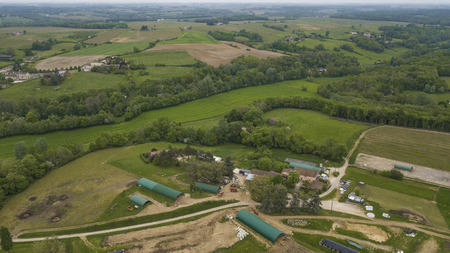 Photo pour Aerial view of a farm in french countryside - image libre de droit