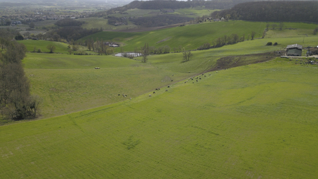 Photo pour Aerial view of campaign landscape in the French countryside, Gironde, France - image libre de droit