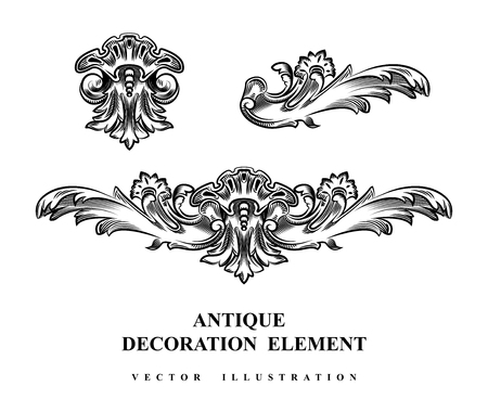 Illustrazione per Vintage architectural Decoration elements for design. Vector illustration. - Immagini Royalty Free