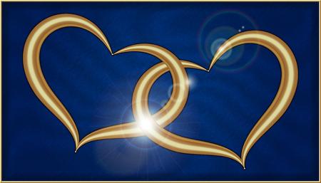 Photo pour Two Golden Hearts on Blue Velvet into a box with gold frame - image libre de droit