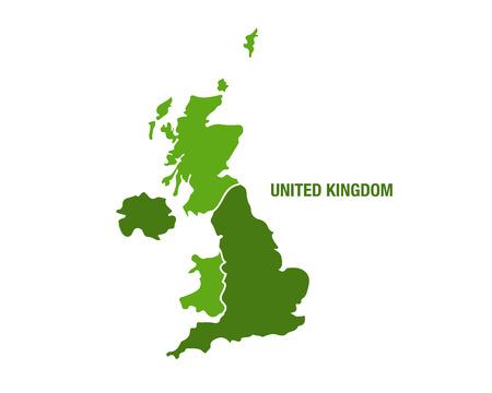 Ilustración de Vector illustration of a green United Kingdom map - Imagen libre de derechos