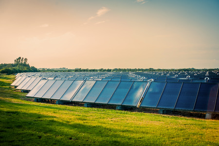 Photo pour Solar park with blue cells on a green field - image libre de droit