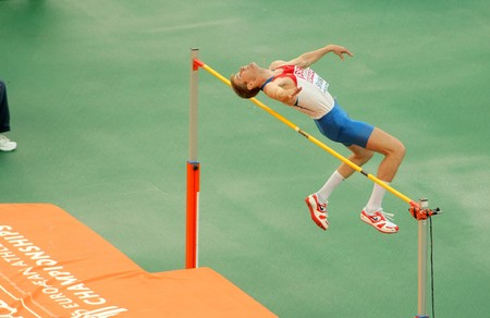 Photo for Aleksander Shustov of Russia competes on the Men High Jump during the 20th European Athletics Championships at the Olympic Stadium on July 29, 2010 in Barcelona, Spain - Royalty Free Image