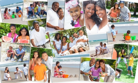 Photo for Montage of happy ethnic families and couples parents and children men women boys and girls enjoying an active lifestyle on holiday vacation, at the beach, playing games in the garden and cycling - Royalty Free Image
