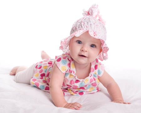 Photo for Portrait of a baby girl  on a white background - Royalty Free Image