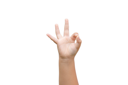 Photo for Boy hand showing ok sign on white background - Royalty Free Image