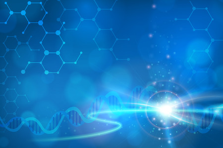 Photo for Abstract biotechnology DNA chemistry molecule vector background. layered. - Royalty Free Image