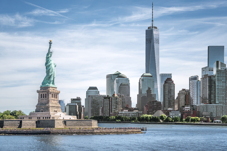 Photo pour The Statue of Liberty with One World Trade Center background, Landmarks of New York City, USA - image libre de droit