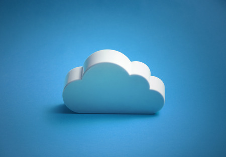 Photo for White cloud shape over blue background - Royalty Free Image
