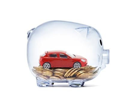 Photo pour Red piggy bank with money - image libre de droit