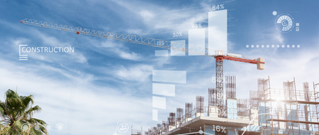 Photo for Constructions site collage of a new building - Royalty Free Image
