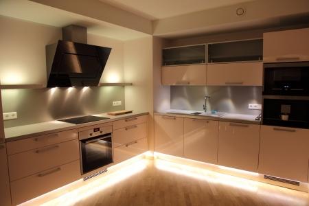 Beautiful modern nordic kitchen with modern lighting