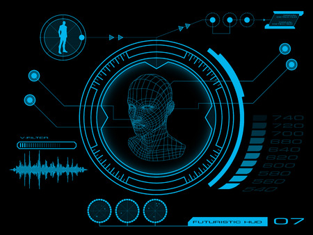 Illustration pour Futuristic virtual graphic user interface HUD - image libre de droit
