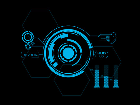 Illustration pour Futuristic blue virtual graphic touch user interface HUD - image libre de droit