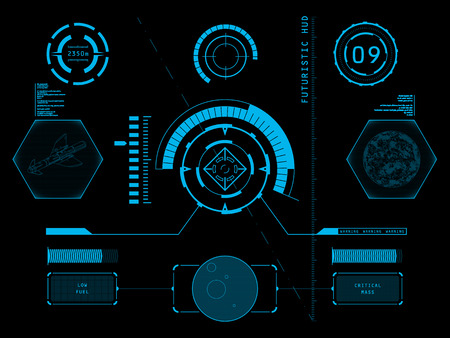Illustration pour Futuristic blue virtual graphic touch user interface HUD - image libre de droit