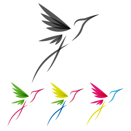Illustration pour Vector Colored Stylized Tropical Hummingbirds Template for Icon Design - image libre de droit