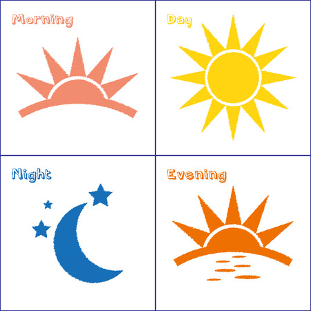 Illustration pour Sun and Moon morning day evening night handdrawn vector icon set - image libre de droit