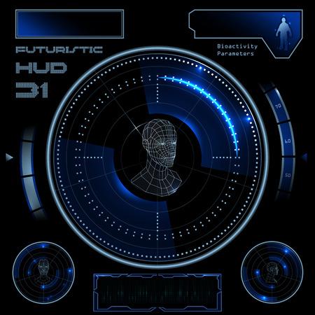 Illustration pour Futuristic sci-fi virtual touch user interface HUD elements - image libre de droit