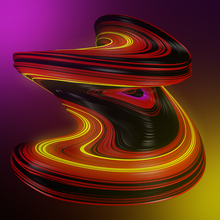 Foto de Futuristic colored abstract twisted shape on a vibrant color background. 3D render illustration - Imagen libre de derechos