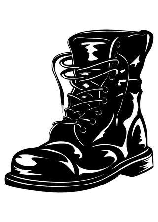 Ilustración de Vector illustration black leather army boot - Imagen libre de derechos