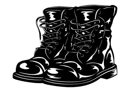 Ilustración de Vector illustration black leather army boots - Imagen libre de derechos