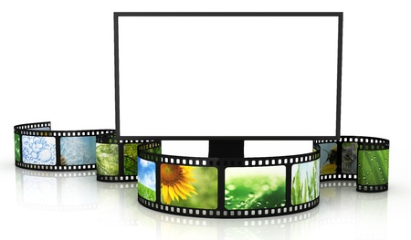 Photo for Filmstrip with blank TV - Royalty Free Image