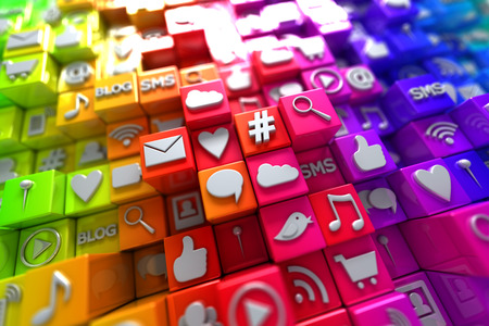 Photo pour Colorful social media icons - image libre de droit