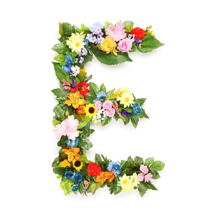 Photo pour Letters made of leaves and flowers - image libre de droit
