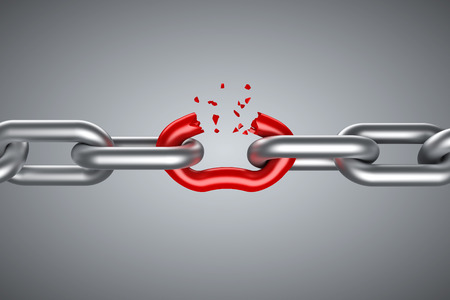 Photo for Steel chain breaking with unique red link - Royalty Free Image