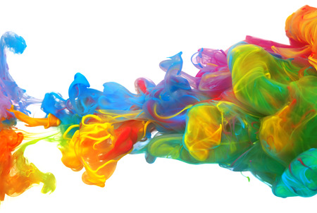 Photo for Clouds of bright colorful ink mixing in water - Royalty Free Image